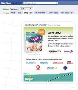 P&G sold out of the 1,000 packs of diapers it was offering via Facebook.