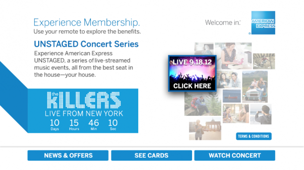 American Express is running an interactive TV channel on DirecTV, Cablevision, Fios and other systems.