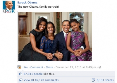An Obama family portrait posted on Facebook generated thousands of likes, comments and shares.