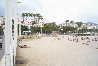 The Beach in front of the Palais des Festivals.
