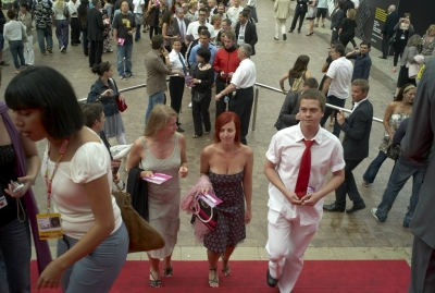 Delegates arriving at the Palais des Festivals for the evenings award ceremony.