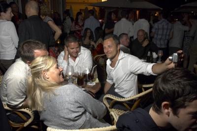 The packed Carlton terrace bar.