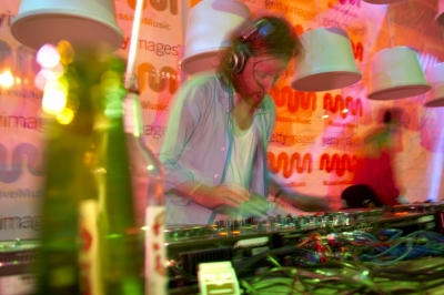 Workin' the ones+twos at the La La Land Beach party.