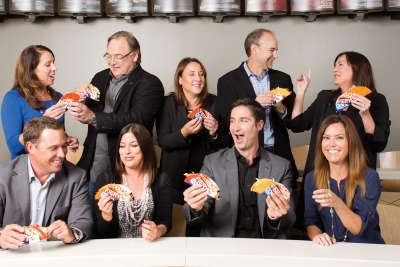 Taco Team (from top l.) Juliet Corsinita, senior director-media brand sponsorships; Greg Creed, CEO; Liz Matthews, chief food innovation officer; Chris Brandt, CMO; Amy Kavanaugh, VP-public affairs; (bottom row, from l.) Rob Lynch, VP-brand marketing and innovation; Tressie Lieberman, director-digital marketing and platforms; Brian Niccol, president; Tracee Larocca, brand creative director