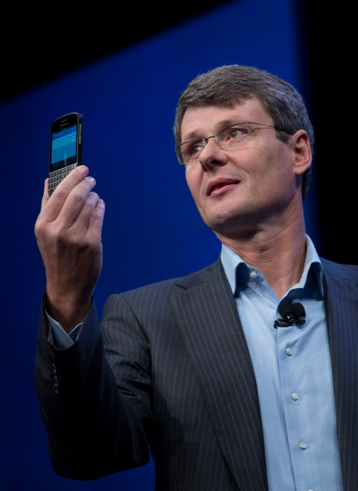 Thorsten Heins, CEO of Research In Motion (RIM), speaks during the launch of the BlackBerry 10 in New York on Wednesday.