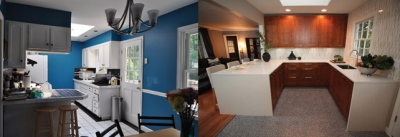 Before and after shot of a kitchen transformed by Ikea on A&E's 'Fix This Kitchen .'