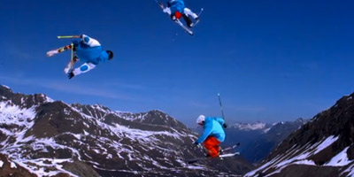 A still shot of freestyle skiing in Kaunertal, featured by RedBull online.