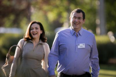 Sheryl Sandberg, chief operating officer of Facebook, and David Goldberg, CEO of SurveyMonkey, during the Allen and Co. Media and Technology Conference in 2014.