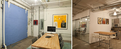 COUNTERCULTURE: The redesigned loft features a kitchen where the partners cook lunch on Fridays for their employees.