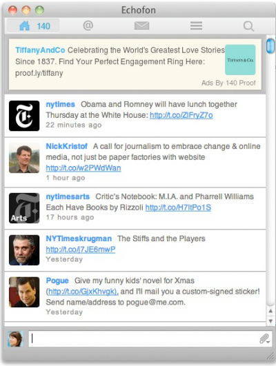A mockup of the way the 140 Proof platform displays ads to targeted audiences