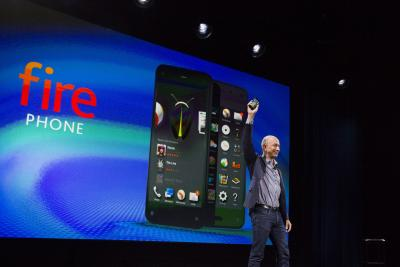 The Amazon Fire Phone appears on stage.