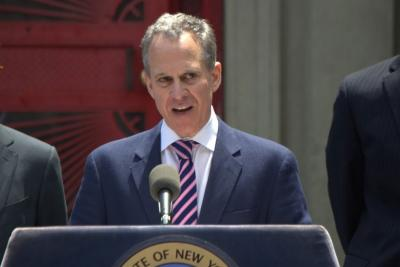 TV ad sales reps are particularly interested in the battle between New York State Attorney General Eric Schneiderman and two of the biggest advertisers right now.