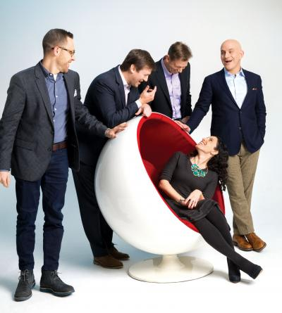 (From l.) Pierre Lipton, Jared Belsky, Bryan Wiener, Lee Maicon, Sarah Hofstetter