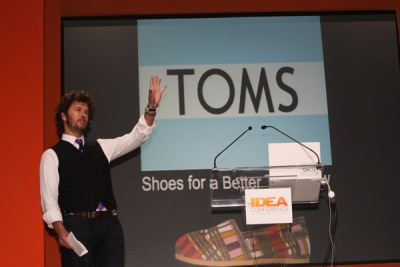 Blake Mycoskie, founder and chief shoe giver of TOMS Shoes, explains his company's give-one-get-one model