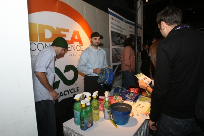 The guys from TerraCycle show off their recycled wares