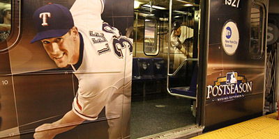 MLB: TBS gave New York City commuters an interactive look at its Major League Baseball coverage with these fully wrapped subway cars.