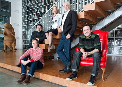 THE WINNING TEAM: (Clockwise from front left): Global Interactive Executive Creative Director Iain Tait; Global Exec Creative Director John Jay ; co-Exec Creative Director Susan Hoffman; co-founder and global Exec Creative Director Dan Wieden; and co-Exec Creative Director Mark Fitzloff.