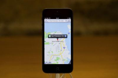 The mapping app on an iPhone 5.