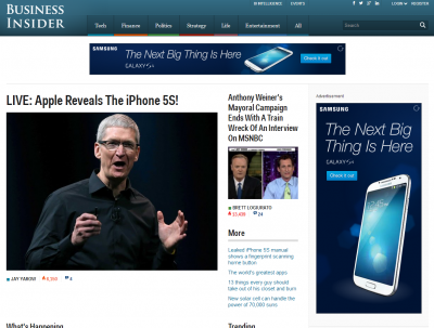 Business Insider's home page on Tuesday