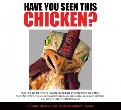 Sunday's newspaper ad for the new Subservient Chicken campaign.