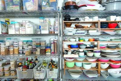 Blue Apron's pantry inside its test kitchen in Brooklyn.
