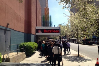 The VIP line to BuzzFeed's first NewFront presentation Monday, 30 minutes before start time. More people queued up on the other side of the theater.