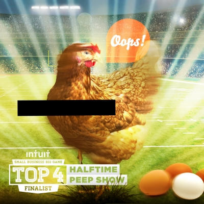 An ad for Locally Laid, one of the finalists in Intui's Super Bowl contest