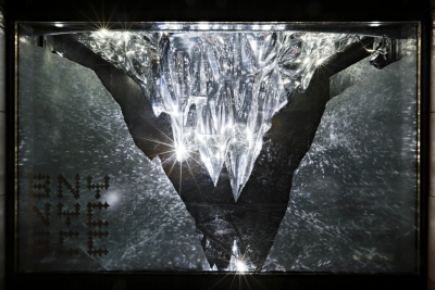 Barneys' display uses black and white light, 3D projection and mirrors to illuminate an icicle sculpture