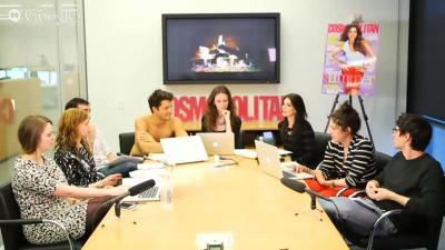 Cosmopolitan.com live-streams a pitch meeting with the website's editor, Amy Odell (center)