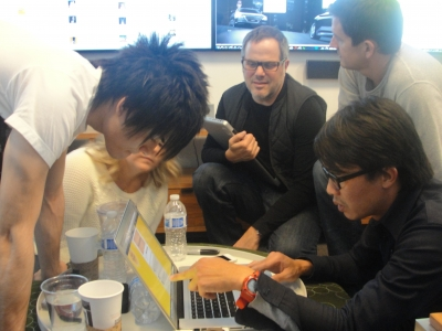 Innocean's director of digital strategy Nguyen Duong (right) discusses how to handle response to Cheerios