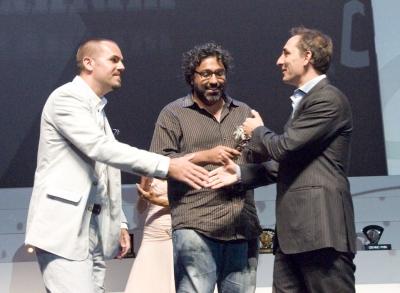 Droga presents a Titanium Lion to Crispin's Jeff Benjamin and Matt Bonin for Whopper Sacrifice