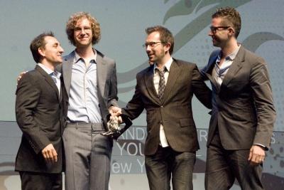 BBH Oasis Titanium Lion Winners CDs Calle and Pelle Sjonell and senior producer Julian Katz
