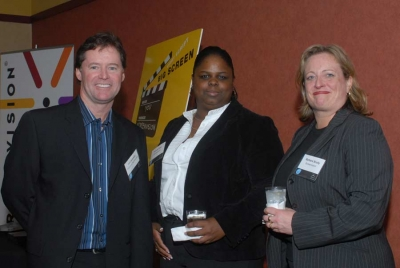 Tom Bracken from Thomson Technicolor, Valerie Blair and Barbara Scully from Screenvision (photo: Elena Olivo)