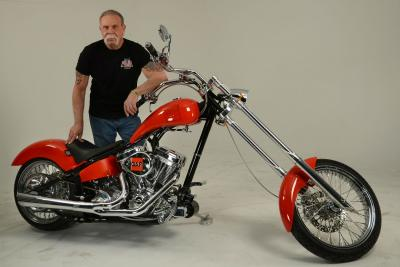 Paul Sr. with GAF-branded bike from Orange County Choppers.