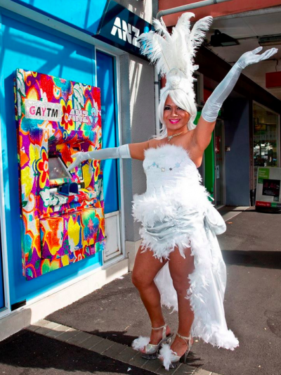 A New Zealand 'GAYTM' at its unveiling; it was later splashed with paint.