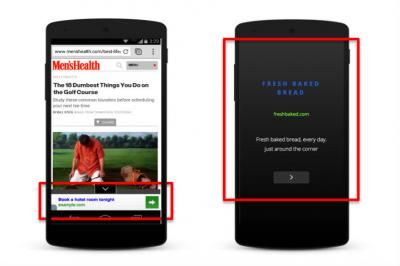 Google's new persistent mobile banner and full-screen text ad.