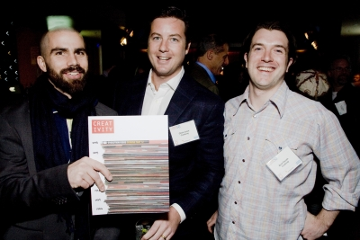 Uncle Lefty's Dickey Abedon, Ad Age/Creativity associate publisher Chris Crain and associate editor Nick Parish stand behind the magazine's new format