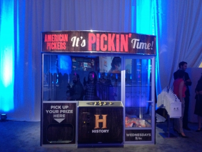 An arcade-style claw game, representing History's 'American Pickers' at the A&E Networks upfront Thursday night.