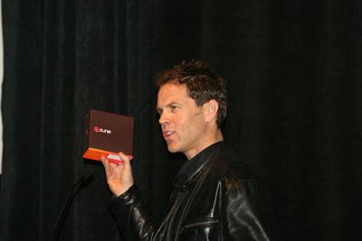 Microsoft's Chris Stephenson shows off a Zune