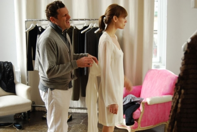 New York fashion designer Isaac Mizrahi during a fitting session.