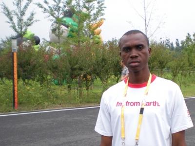Olympic athlete wearing Coke T-shirt