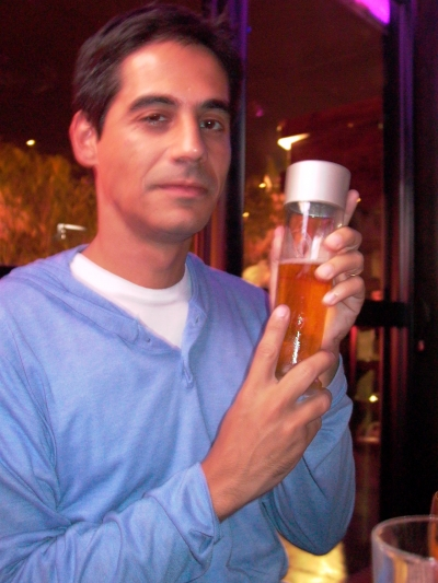 This is what happens when you let the art director order drinks--MatosGrey AD Guy Costa with a Philippe Starck signature bottle of Kronenbourg 1664
