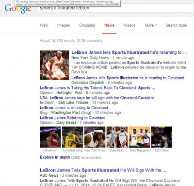 Google News is not returning Sports Illustrated's LeBron James scoops among the top search results.