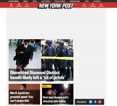 The New York Post homepage during the DoubleClick outage, with white space where ads were meant to go.