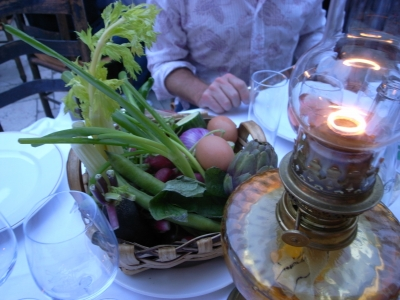 Getting the raw food treatment at the Colombe D'Or