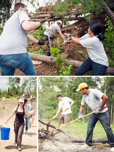 Sapient staffers clean up a farm damaged by tornadoes in Georgia.