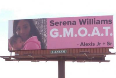 One of four billboards Alexis Ohanian put up to cheer on Serena Williams
