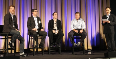 Ad Age 's Nat Ives, far right, introduces a panel moderated by SapientNitro's Christian Waitzinger, from left, with MLB's Bob Bowman, WWE's Jason Hoch and ESPN's John Kosner, at the Social Engagement/Social TV Conference Wednesday.