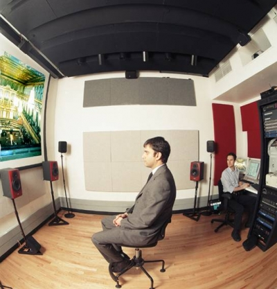 Arup SoundLab. In all the networked SoundLabs Arup has created around the world, collaborators can be spirited instantaneously between music venues or theaters to hear and compare acoustic experiences.