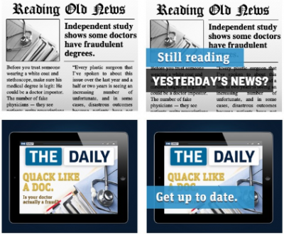 Frames from The Daily's new ads